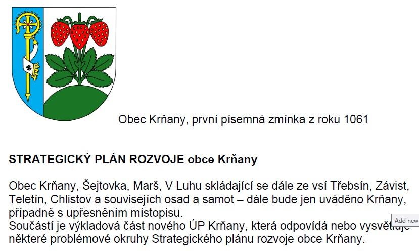 Strategický plán rozvoje obce Krňany