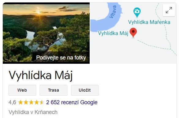 Vyhlídka Máj na Google Maps