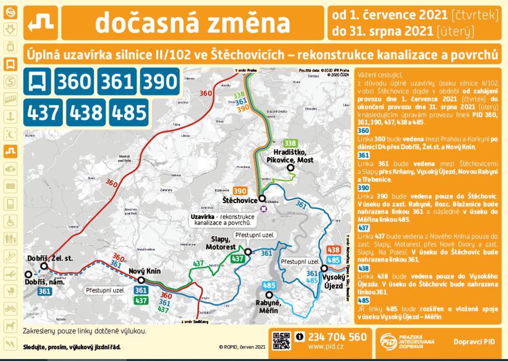 Výluka autobusových linek Štěchovice